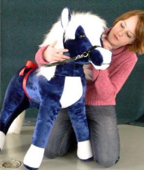 American Made Giant Stuffed Horse 36 Inches Navy Blue Color Plush Pony Made in the USA America