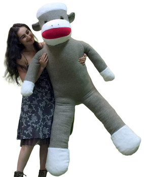 Big Plush 6 Foot Giant Sock Monkey Soft Huge Stuffed Animal Made in USA America