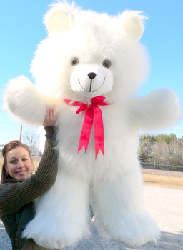 Giant White Teddy Bear 42 inches Soft American Made Stuffed Animal Made in the USA