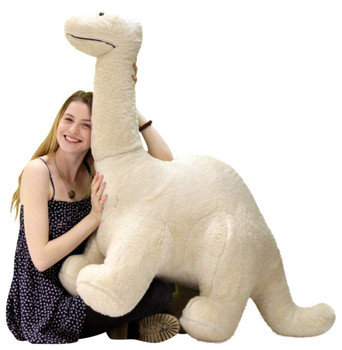 American Made Big Plush Papa Dinosaur, Soft Giant Stuffed Brontosaurus 4 Feet Long 3 Feet Tall Made in USA