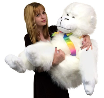 American Made Giant Stuffed White Gorilla Monkey 40 Inch Soft Big Plush Animal