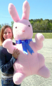 Giant Stuffed Bunny Rabbit 3 and 1/2 feet Tall Pink Color Stuffed Soft Made in the USA