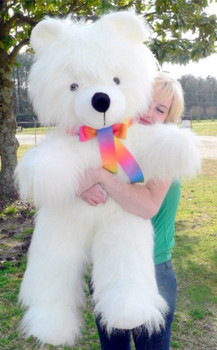 American Made Giant White Teddy Bear 45 inches Soft Big Plush Stuffed Animal Made in USA