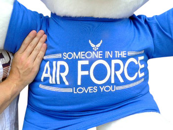 American Made Giant Teddy Bear 36 Inches Soft, Wears Removable T Shirt Someone in the Air Force Loves You