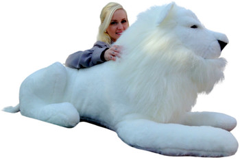 Big stuffed white lion