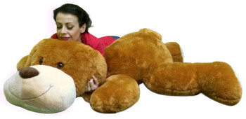 Giant Stuffed Puppy Dog 5 Feet Long Squishy Soft Extremely Large Plush Honey Brown Color