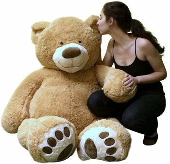 Big Plush Giant Teddy Bear Five Feet Tall Tan Color Soft Smiling Big Teddybear 5 Foot Bear Ultra Premium Quality