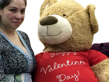 Giant 5 Foot Valentine Teddy Bear Soft Life Size Plush Wears Removable T-Shirt HAPPY VALENTINES DAY