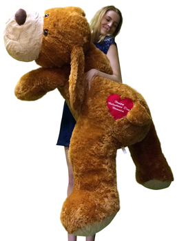 Personalized Big Plush Puppy Dog 5 Feet Long Soft, Your Message Custom Imprinted on Heart on His Butt