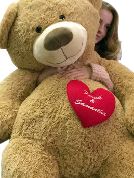 Your Custom Personalized Name or Message on 5 Foot Giant Teddy Bear, Has Customized Heart on Chest