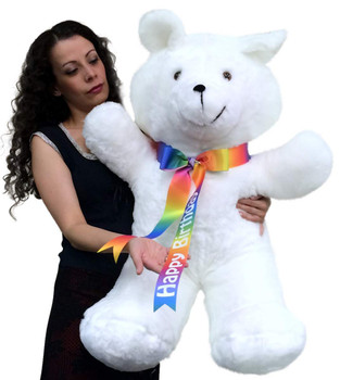 Happy Birthday Giant Teddy Bear 36 Inches Soft, Happy Birthday Neck Ribbon, Made in USA