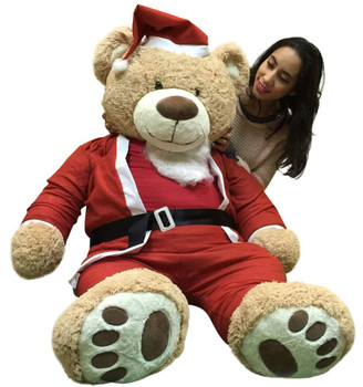 Giant Christmas Teddy Bear 60 Inch Soft, Wears Santa Claus Suit 5 Foot Xmas Teddybear Tan