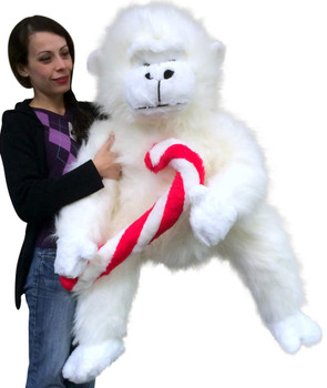 Giant Stuffed Christmas Gorilla With Big Plush Candy Cane, American Made 40 inch Soft Plush