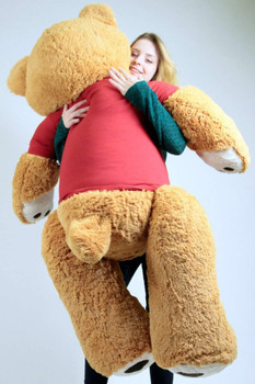 Big Plush Giant Teddy Bear Five Feet Tall Honey Brown Color Wears Tshirt that says I LOVE YOU THIS MUCH