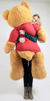 United States Marines Big Plush Giant Teddy Bear Five Feet Tall Honey Brown Color Wears Tshirt that says SOMEONE IN THE MARINES LOVES YOU