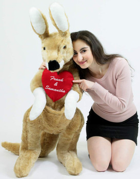 Custom Personalized Giant Stuffed Kangaroo 42 Inches 107 cm Soft, Your Message Custom Printed on Heart