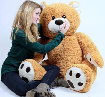 Big Plush Giant Teddy Bear Five Feet Tall Honey Brown Color Soft Smiling Big Teddybear 5 Foot Bear
