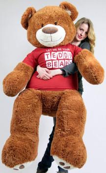 Big Plush Giant 5 Foot Teddy Bear Caramel Color Wears Tshirt LET ME BE YOUR TEDDY