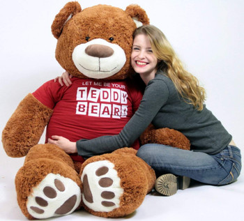 Big Plush Giant 5 Foot Teddy Bear Caramel Color Wears Tshirt LET ME BE YOUR TEDDY
