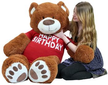 a3d54f0c658 Happy Birthday 5 Foot Big Plush Giant Teddy Bear Soft Cinnamon Color Wears  Tshirt