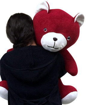 Big red teddy bear made in the USA by Big Plush.