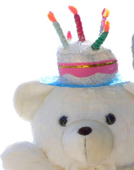 Add a Birthday Cake Hat to YOUR Big Plush Animal - We will Attach the Happy Birthday Hat to YOUR Animal's Head Before we Ship - Hat Can Later be Removed Without Damaging the Stuffed Animal
