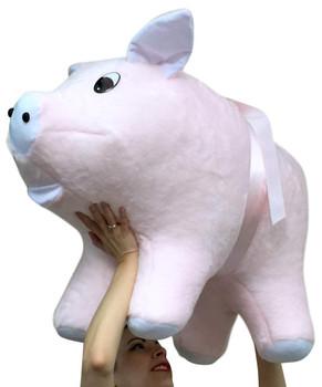 American Made Giant Stuffed Pink Pig 32 Inch Soft Big Plush Hog Farm Animal