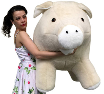 American Made Giant Stuffed Pig 40 Inch Brown Soft Plush Hog Made in USA