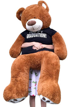 Big Plush 5 Foot  Graduation Teddy Bear Soft, T shirt says HAPPY GRADUATION