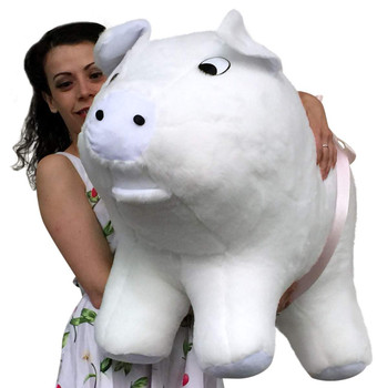 American Made Extra Large Stuffed Pig 32 Inches 82 cm Soft White Big Plush Brand Huge Hog Farm Animal Plushie Made in the USA
