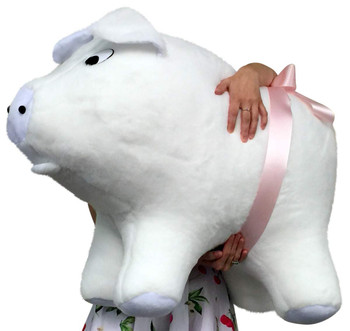American Made Giant Stuffed Pig 32 Inch Soft White Big Plush Hog Farm Animal