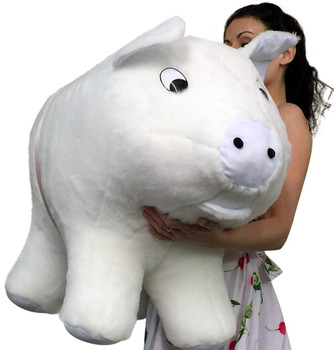 Big Plush brand extra large size white stuffed pig 32 inches long made in the USA.