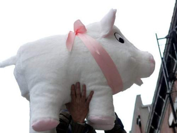 Big Plush brand large stuffed pig white color made in the USA.