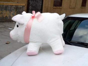 Big Plush brand jumbo stuffed pig white color made in the USA.