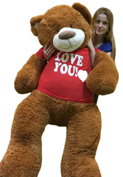 453bc26cb8a5 5 Foot Giant Teddy Bear 60 Inch Soft Cinnamon Brown Color Huge Wears I LOVE  YOU · Choose Options