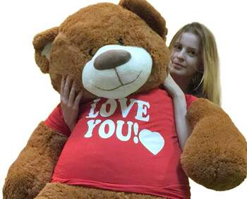 5 Foot Giant Teddy Bear 60 Inch Soft Cinnamon Brown Color Huge Wears I LOVE YOU T-shirt