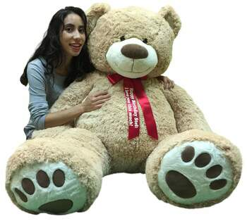 Personalized Big Plush Giant Teddy Bear Five Feet Tall Tan Color Soft Smiling Big Teddybear 5 Foot Bear