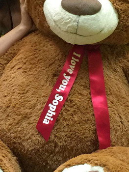 Personalized 5 Foot Very Big Smiling Teddy Bear Five Feet Tall Cookie Dough Brown Color with Bigfoot Paws Giant Stuffed Animal Bear