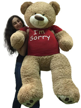 I'm Sorry Giant Teddy Bear 5 Feet Tall Tan Color Soft Wears T shirt that says I'M SORRY