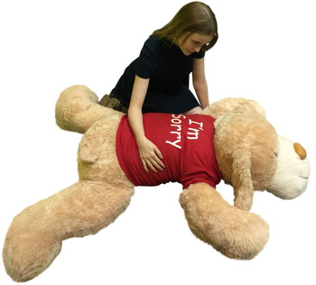 "Say ""I'm Sorry"" with this giant stuffed puppy dog that wears an adorable t shirt"