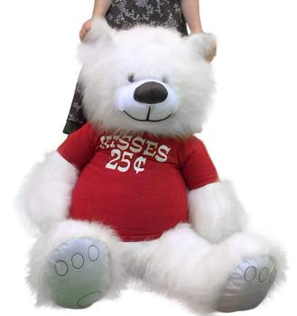 Valentine's Day Giant White Teddy Bear 5 Feet Tall Big Plush Wears Tshirt KISSES 25 CENTS