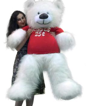 Giant White Teddy Bear 5-Feet Tall Big Plush Wears Tshirt that says KISSES 25 CENTS