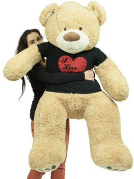 5 Foot Very Big Smiling Teddy Bear Wearing Black and Red I Love You T-shirt Soft  Tan Color