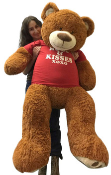 Big Plush 5 Foot Giant Teddy Bear 60 Inches Soft Cinnamon Brown Color Wears HUGS AND KISSES T-shirt