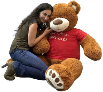 5 Foot Giant Teddy Bear 60 Inches Soft Cinnamon Brown Color Wears YOU ARE SPECIAL T-shirt
