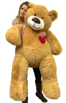 Giant Teddy Bear 55 Inch Heart on Chest to Express Love, Tan Soft New Big Plush Teddybear