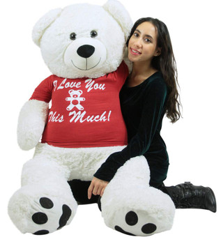 Giant White Valentine's Day Teddy Bear 52 Inch Soft Big Plush, Wears Removable T-shirt I Love You This Much