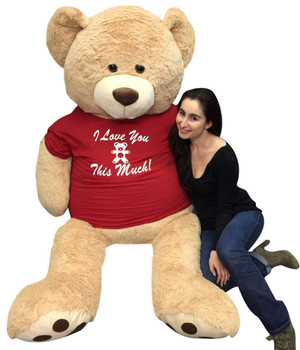 6ft teddy bear wears i love you t-shirt