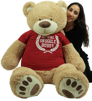 5 Foot Giant Teddy Bear Soft 60 Inch, Wears Removable T-shirt Official Snuggle Buddy