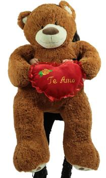 Te Amo Giant 5 Foot Brown Teddy Bear Soft I Love You Plush Holds Romantic Heart Pillow